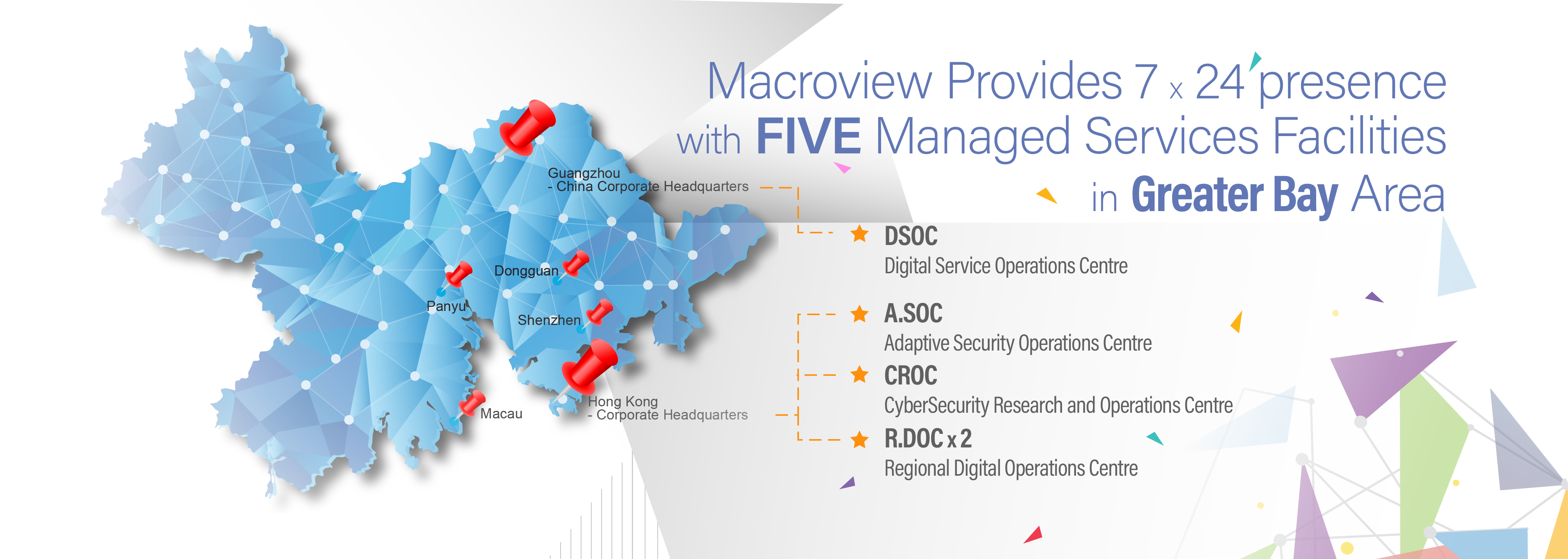 Macroview provides 7x24 presence with FIVE Managed Services Facilities in Greater Bay Area